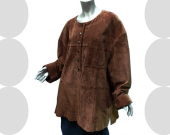 Women's Suede Tunic Vintage 80s Size XL Leather Lagenlook 1980s Spiegel QPS Rich Brown Snap Front Lined Jacket