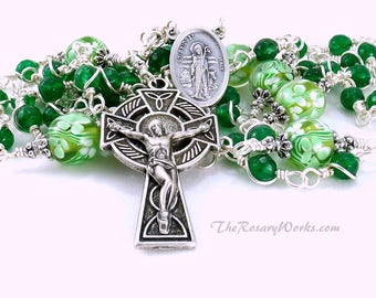 Irish Rosary Beads St. Brigid St Patrick Celtic Cross Green Jade White Wire Wrapped Unbreakable Traditional Catholic 5 Decade Gift