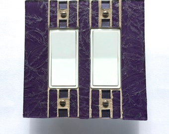 Purple Switch Plate, Stained Glass Wall Plate, Decora Light Switch Cover, Dimmer Cover Plate, Decorative Outlet Plate, Outlet Cover, 8575