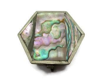 Abalone Box - Alpaca, Mexico, Pillbox, Hinged Lid