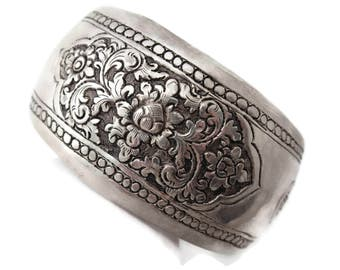 Sterling Cuff Bracelet - Cambodian Silver Hand Etched, Large Chunky