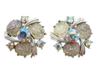 Lisner Earrings - AB Finish Lava Rock Rhinestones Costume Jewelry Clip Backs