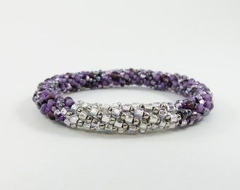 Bead Crochet Rope Bangle Bracelet in Pave and Purple - Item 1550