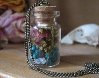 Faerie Pixie Terrarium Necklace Turquoise Flowers Gemstone