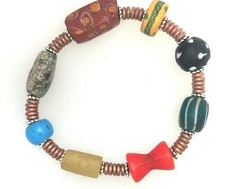 African Trade Bead Bracelet #7.  6  ins