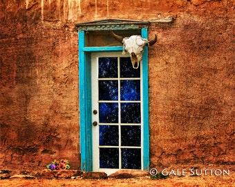 Old adobe house, Southwest, Door, Blue Door, Starry Night, Cow Skull, New Mexico, Wall Art, House Decor, Office Decor, Fine Art Photograph