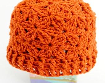 Crocheted Jasmine Flower Beanie. Hat. Pumpkin.