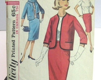 1963 Simplicity pattern 5126 womens suit size 22 and a half bust 43 printed pattern