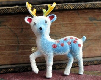 Vintage blue fawn brooch Kitschy blue sparkly enamel metal deer pin