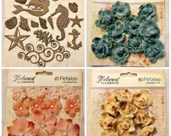 Under the Sea Embellishment Bundle, Nautical/Ocean Theme Chipboard, Burlap/Canvas Flowers