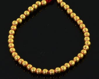 "2mm 18k Solid Gold Plain Round Spacers Beads 3.3"" Strand (43)"