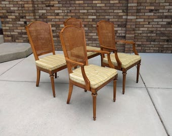 4 FRENCH neoclassical cane back dining chairs by HICKORY