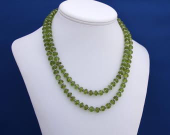 Double strand Faceted Peridot Necklace, August birthstone, Sixteenth Wedding Anniversary, 16th Anniversary, Double strand Peridot Necklace