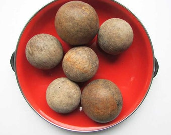 Antique Game Balls for Decor, Set of 6 Antique 1920 Vintage Time Worn Wooden Game Balls w Old Surface Finish,  Home Decor, Table Centerpiece