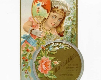 Antique Victorian Advertising, Trade Card, H O'Neill & Co., Sixth Avenue, New York, Girl with Fan, Flowers, Shaped Card, 1890 Vintage