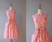 Vintage 50s Dress / 1950s Pale Pink Wrap Dress / 50s Soft Cotton Floral Sundress Large XL L