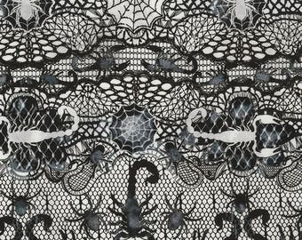 lace spider web black and white timeless treasures fabric 1 yard - Halloween Lace Fabric