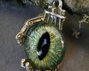 Gothic Steampunk Robot Claw Pendant with Golden Green Eye
