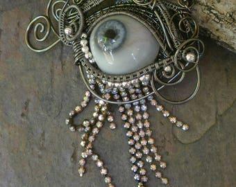 Gothic Steampunk Blue Prosthetic Eye Pendant with Rhinestones