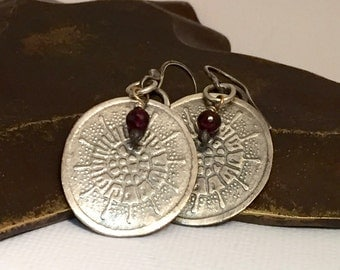 Sterling Silver Earrings Textured Metalwork with Garnet Bead Accents