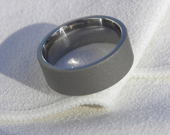 Titanium Ring, Wedding Band, 8mm size 7.25, Clearance