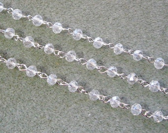 "One Meter 39.5"" Faceted Crystal Clear Rondelle Glass 4 x 6mm Beaded Rosary Chain Bright Silver 996"
