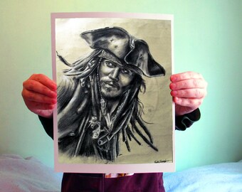 Jack Sparrow - Pirates of the Caribbean, 8x10, Matte PRINT or CUSTOM Charcoal Art on Bamboo Paper, PotC