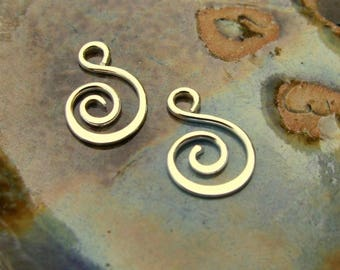 """CUSTOM ORDER - 12 Stick links, 18g ...and 4 pcs, Fancy Spiral Charms, 16g, 3/4""""- Sterling Silver"""