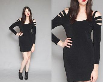 Vintage 90s Black STRAPPY Open Shoulder Mini Dress // Bodycon Cut Out Grunge Dress - Size M