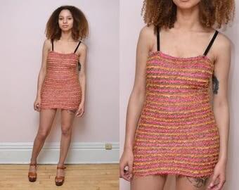 Vintage 90s Fuzzy Orange Tube Mini Dress // Furry Club Kid Raver Bodycon Dress -  Size S