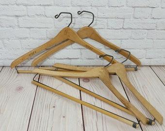 Vintage Wood Suit Hangers Set of 4