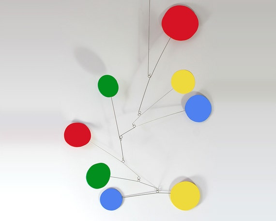 """Large Exuberant Mobile by Atomic Mobiles - 20""""x28"""" - Delightful Midcentury Inspired Kinetic Art"""