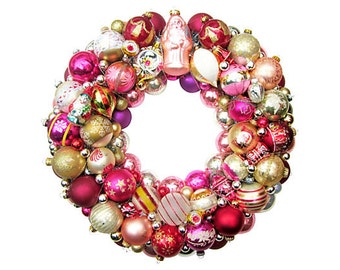Pink Santa glass Ornament Wreath Christmas Holiday German Vintage