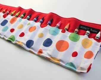 Polka Dot Crayon Holder-Crayon Roll Up-Gender Neutral Crayon Holder-Kid Christmas Gift-Kid Stocking Stuffer-Kid Birthday Gift-Travel Accesso