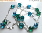 20% OFF, Stepping Up Step Cut Quartz Necklace, Blues and Green, 38- 42""