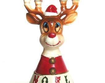 Vintage Christmas Santa Claus Reindeer NOEL Candle Holder / Lipper & Mann / Porcelain Figurine Holiday Decoration  / L and M with Foil Tags