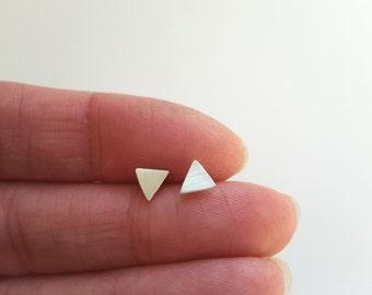 Triangle Stud Earrings Sterling Silver Earrings Post Earrings Tiny Stud Earrings Everyday Earrings