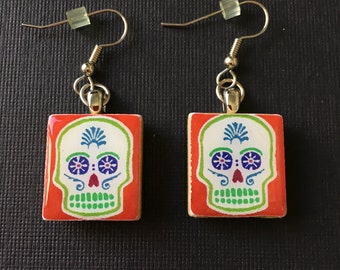 Day of the Dead earrings, handmade Day of the Dead jewelry, Sugar Skull earrings, handmade Scrabble tile earrings, surgical steel ear wires