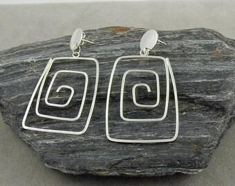 Unique Silver Geometric Earrings with Posts Long Earrings Artisan