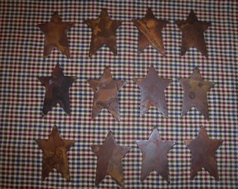 Lot of 12 2 inch Rusty Primitive Stars 2""