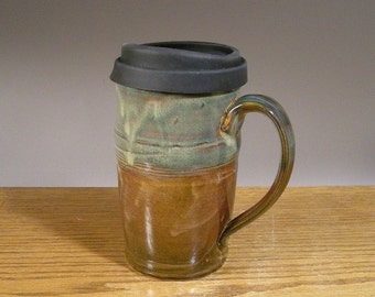 22 oz , Large Handmade, Pottery Travel Mug , Commuter Mug , Ceramic Travel Mug , with Reusable Silicone Lid