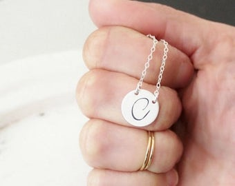 Silver Initial Necklace, Personalized Necklace, Simple Necklace, Hand Stamped Initial Necklace, Everyday Necklace, Double Connected Necklac