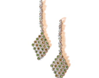 Pair of Silver-tone Diamond Shape Peridot and Olive Drop Charms