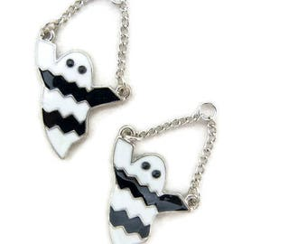 Pair of Silver-tone Black and White Epoxy Ghost Charms on Chain