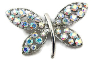 Butterfly Pendant Silver-tone Aurora Borealis Rhinestone