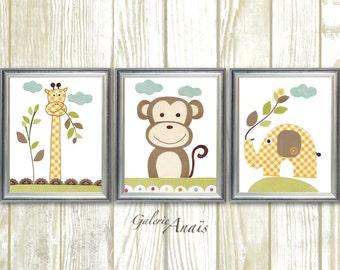 Giraffe monkey elephant jungle - Animal yellow brown green - baby nursery - Playroom decor - kids room decor - Set of 3 prints Old Buddies