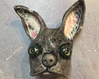 Ceramic French Bulldog mask, wall hanging, donnie darko, bunny, original art