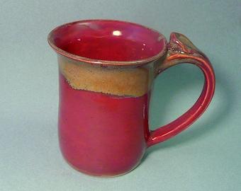 Deep red stoneware mug with gold highlights, Ceramic coffee cup, Pottery mug