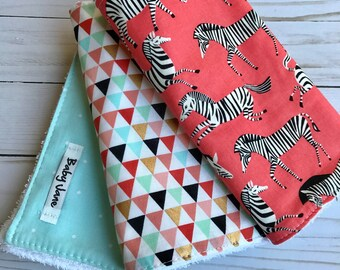 Set of 3 Modern Cotton Burp cloths Zebra  and geometric prints
