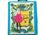 BARBIE DOLL Case-Vintage 1968 Mattel-Plus Some Clothes-No. 102-Blue Green-Floral Design-Repurpose-Craft-Collectible-New Design-PINK-